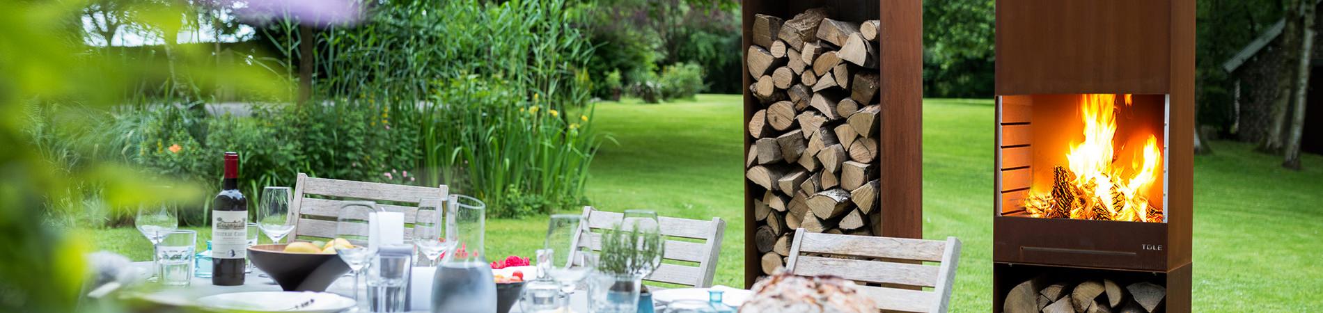 Chemin e ext rieur pour le jardin design fonction barbecue shop piscines fitness for Cheminee de jardin weber